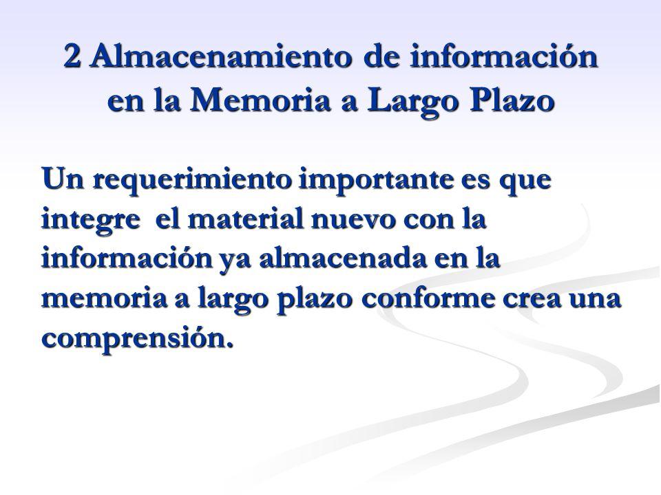 2 Almacenamiento de información en la Memoria a Largo Plazo