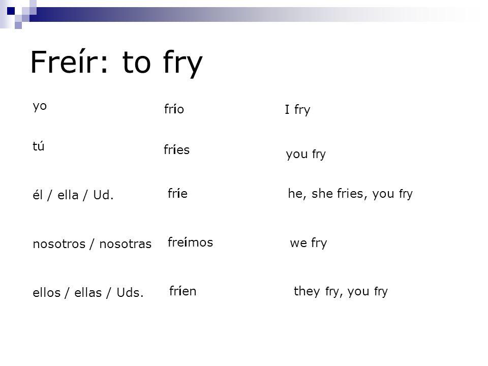 Freír: to fry yo frío I fry tú fríes you fry él / ella / Ud. fríe