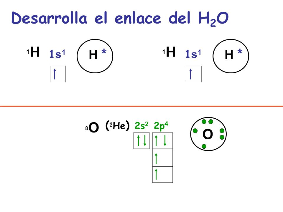 Desarrolla el enlace del H2O