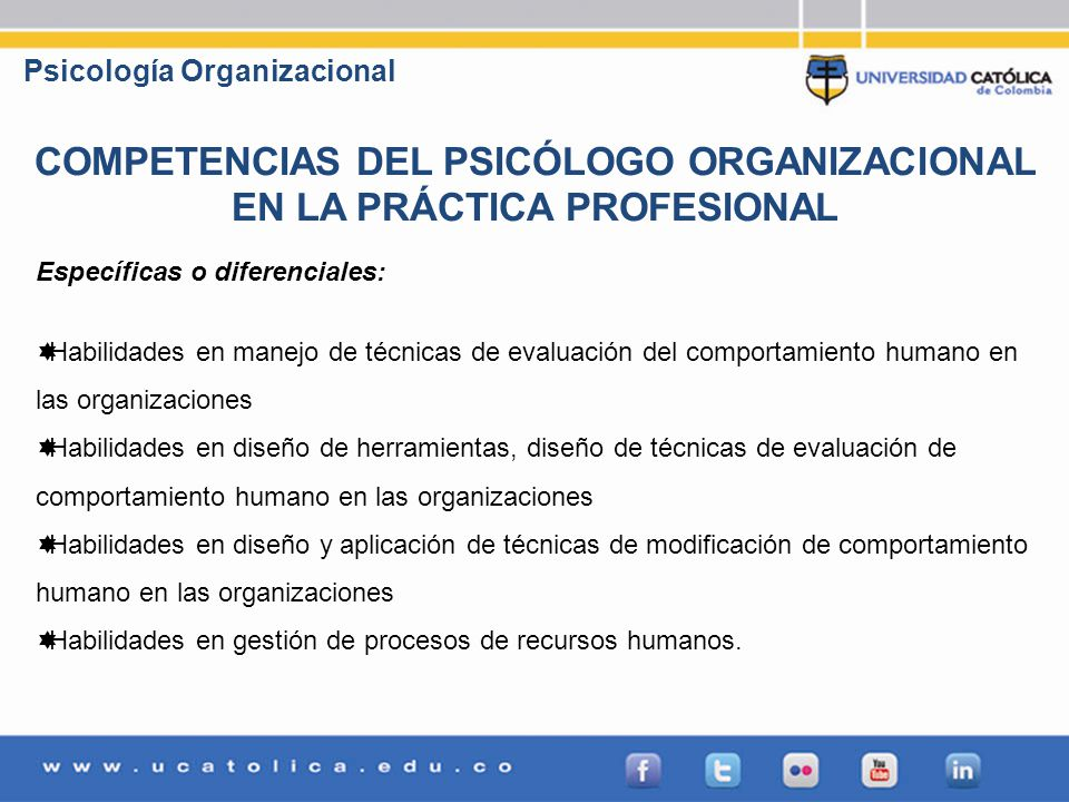 COMPETENCIAS DEL PSICÓLOGO ORGANIZACIONAL EN LA PRÁCTICA PROFESIONAL