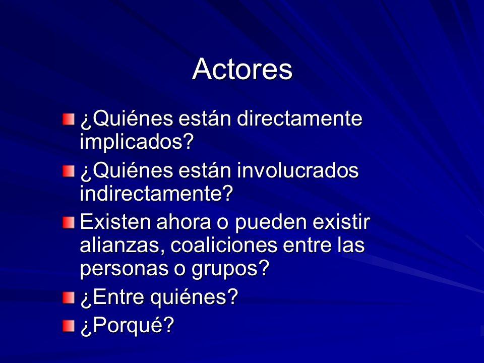 Actores ¿Quiénes están directamente implicados