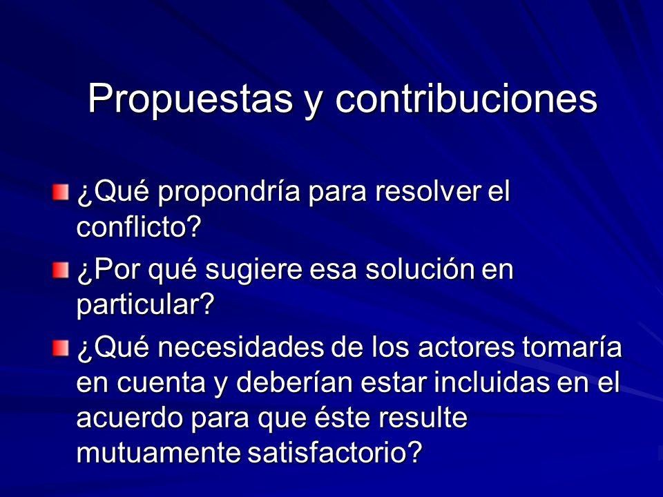 Propuestas y contribuciones