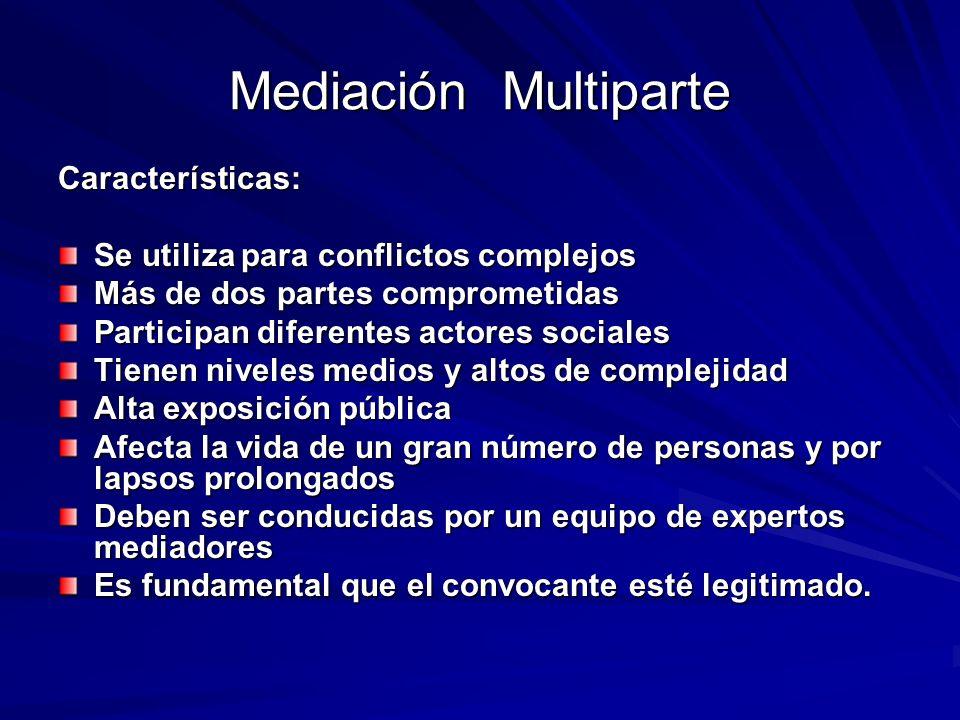 Mediación Multiparte Características:
