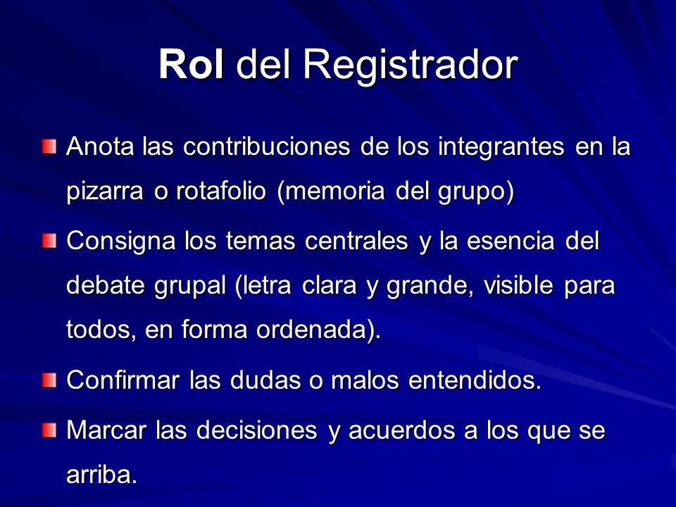 Rol del Registrador Anota las contribuciones de los integrantes en la pizarra o rotafolio (memoria del grupo)