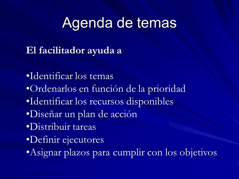 Agenda de temas El facilitador ayuda a Identificar los temas