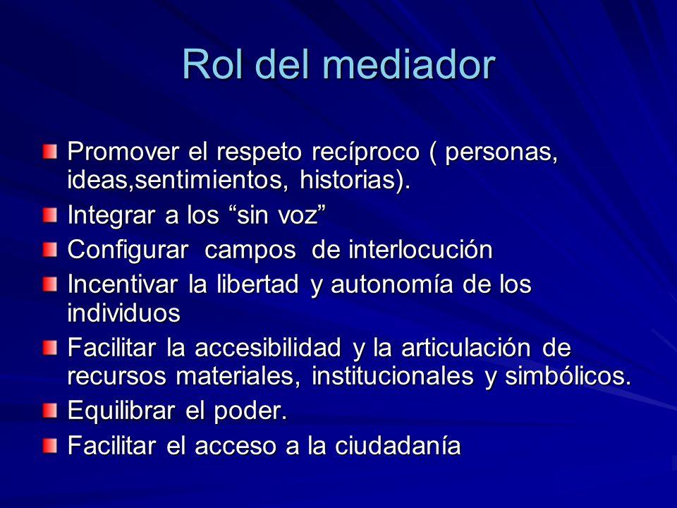 Rol del mediador Promover el respeto recíproco ( personas, ideas,sentimientos, historias). Integrar a los sin voz