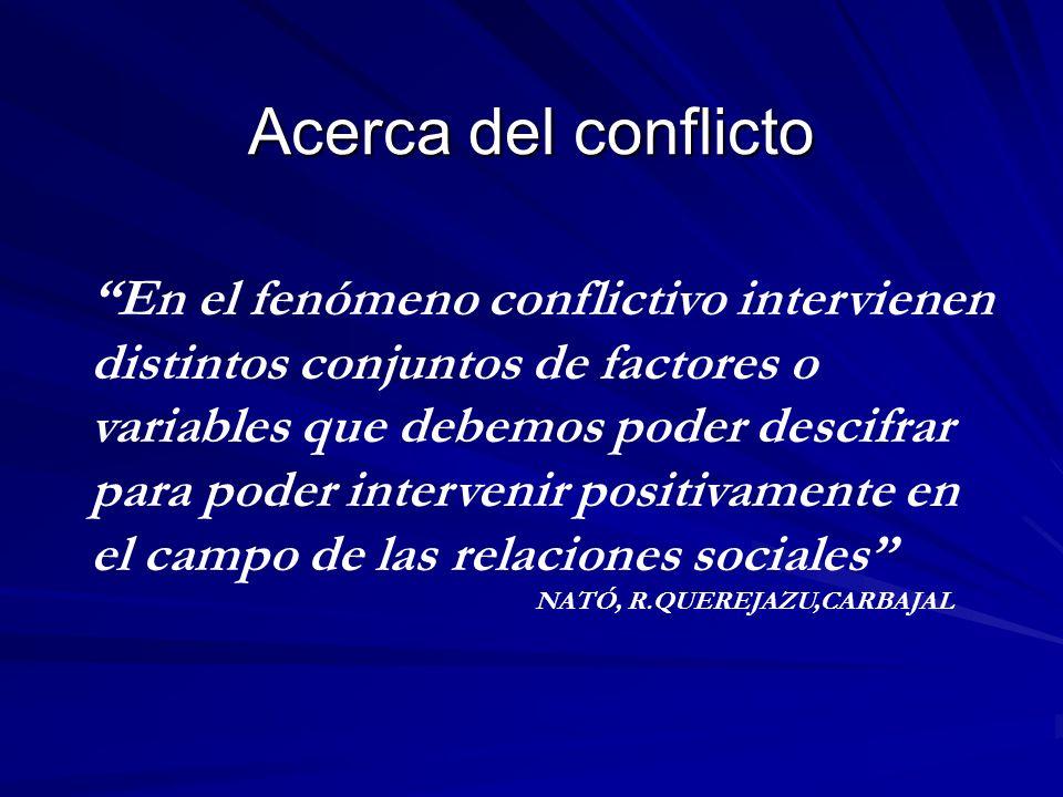 Acerca del conflicto En el fenómeno conflictivo intervienen