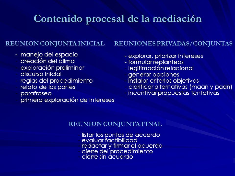 Contenido procesal de la mediación