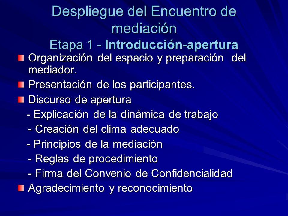 Despliegue del Encuentro de mediación Etapa 1 - Introducción-apertura