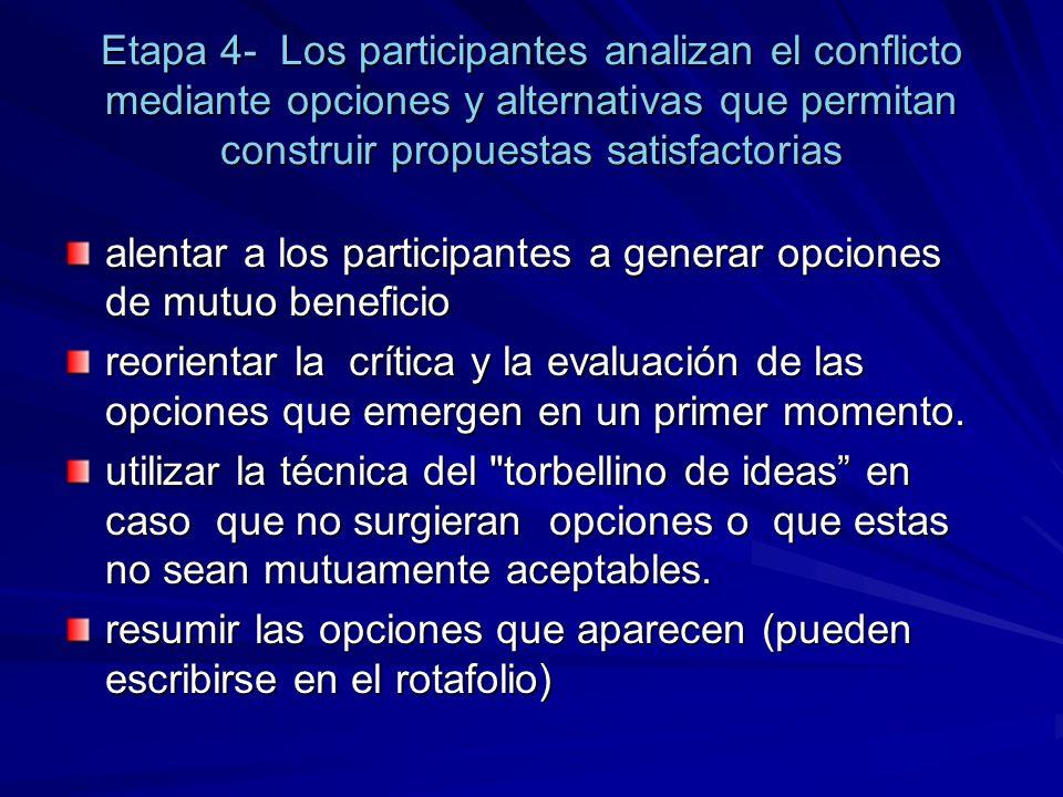 Etapa 4- Los participantes analizan el conflicto mediante opciones y alternativas que permitan construir propuestas satisfactorias