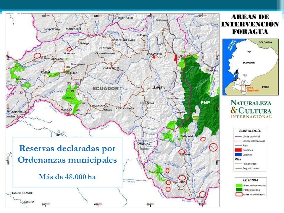 Reservas declaradas por Ordenanzas municipales