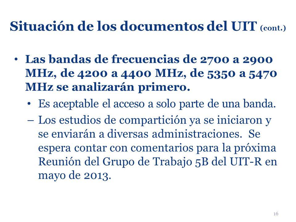 Situación de los documentos del UIT (cont.)