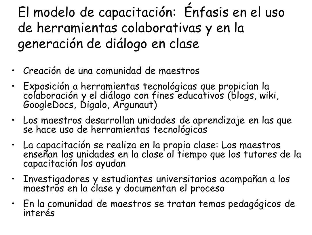 El modelo de capacitación: Énfasis en el uso de herramientas colaborativas y en la generación de diálogo en clase
