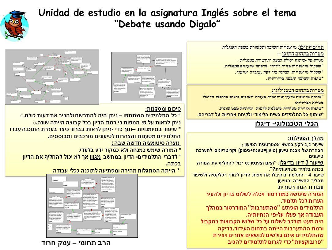 Unidad de estudio en la asignatura Inglés sobre el tema Debate usando Digalo