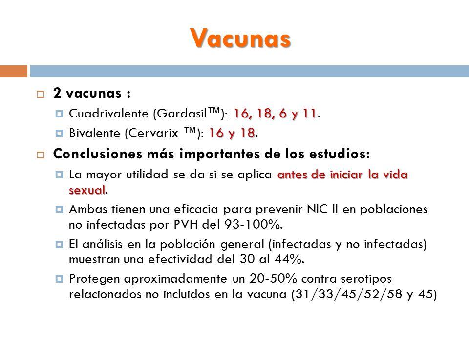 Vacunas 2 vacunas : Conclusiones más importantes de los estudios: