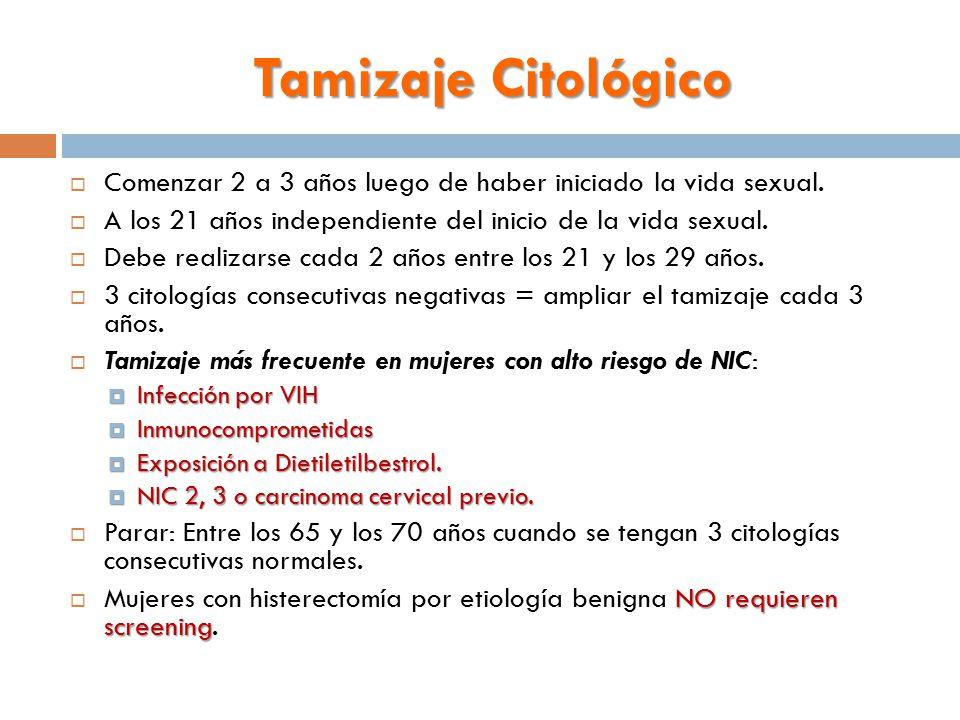 Tamizaje Citológico Comenzar 2 a 3 años luego de haber iniciado la vida sexual. A los 21 años independiente del inicio de la vida sexual.