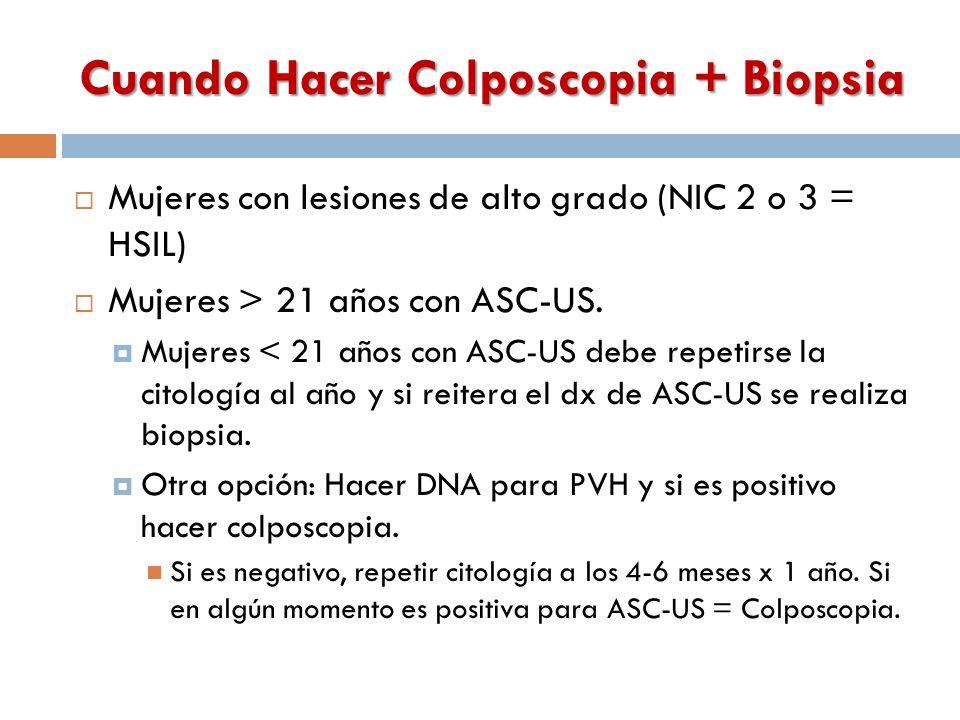 Cuando Hacer Colposcopia + Biopsia