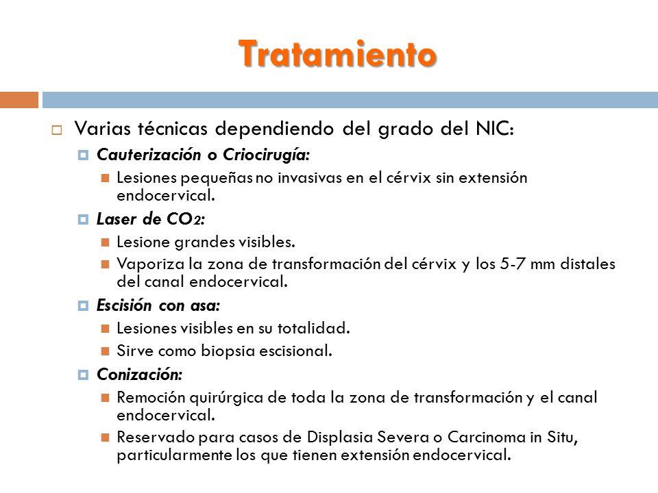 Tratamiento Varias técnicas dependiendo del grado del NIC: