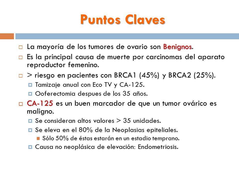 Puntos Claves La mayoría de los tumores de ovario son Benignos.