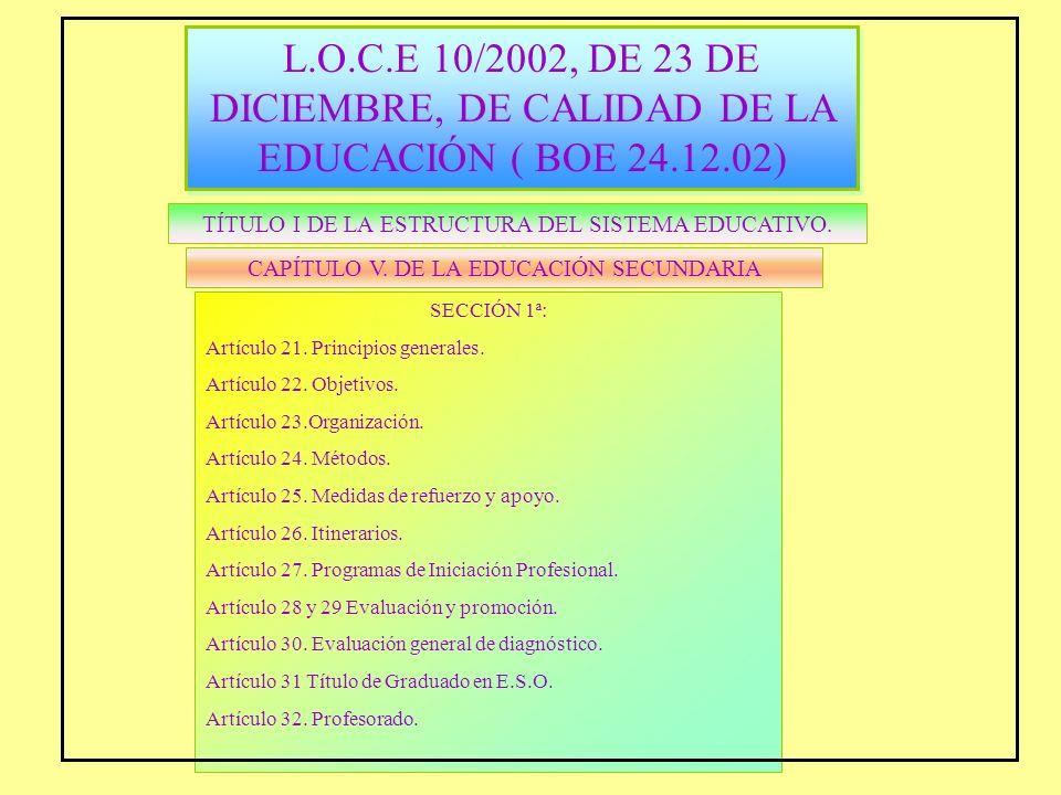 L.O.C.E 10/2002, DE 23 DE DICIEMBRE, DE CALIDAD DE LA EDUCACIÓN ( BOE 24.12.02)
