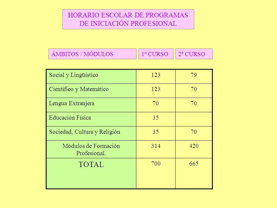 TOTAL HORARIO ESCOLAR DE PROGRAMAS DE INICIACIÓN PROFESIONAL