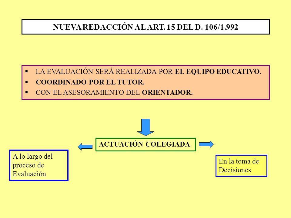 NUEVA REDACCIÓN AL ART. 15 DEL D. 106/1.992