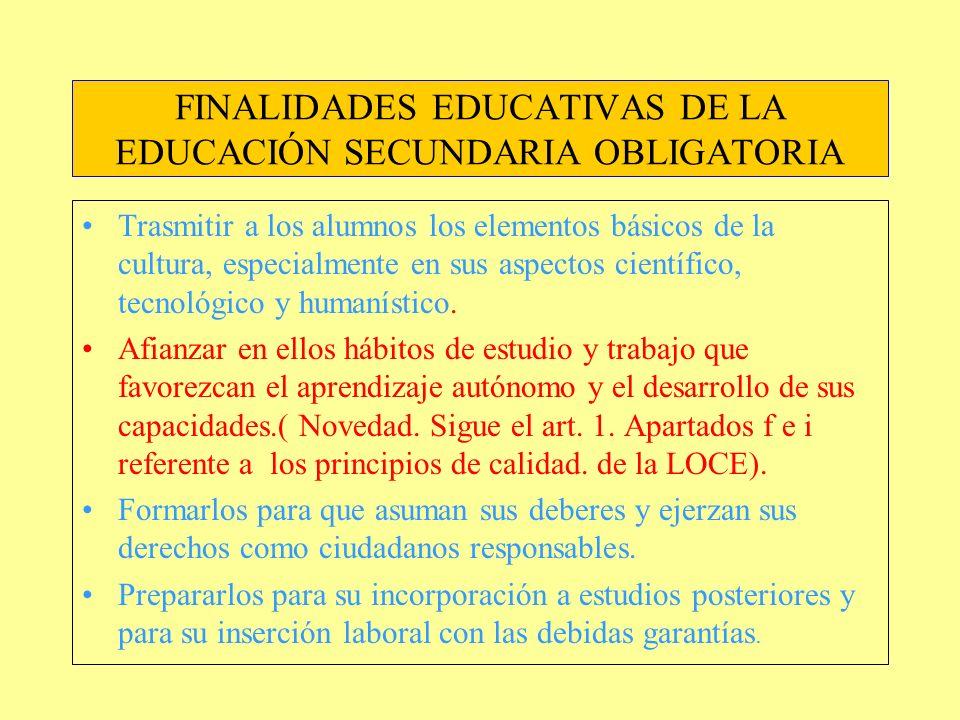 FINALIDADES EDUCATIVAS DE LA EDUCACIÓN SECUNDARIA OBLIGATORIA
