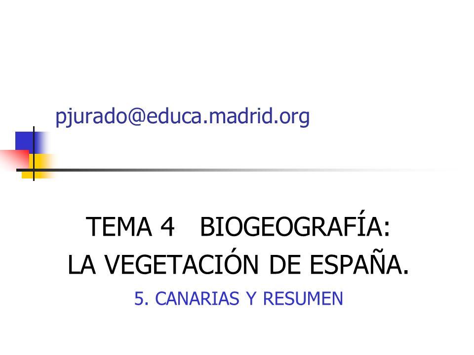 TEMA 4 BIOGEOGRAFÍA: LA VEGETACIÓN DE ESPAÑA. 5. CANARIAS Y RESUMEN