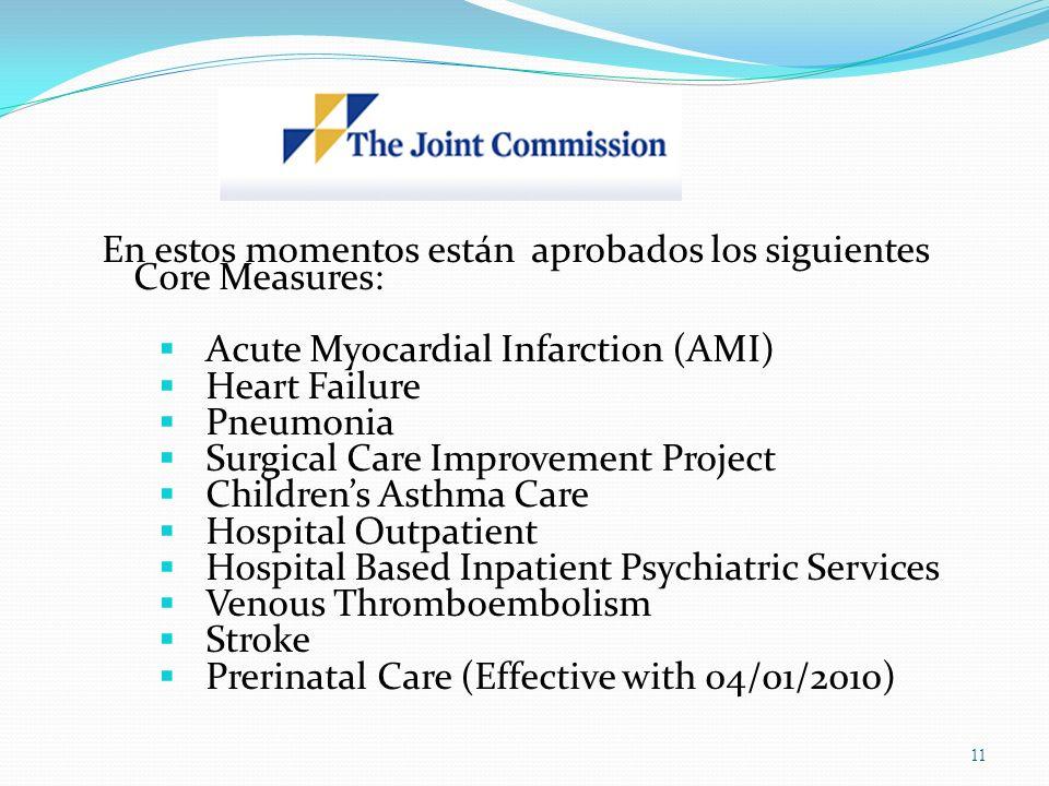 En estos momentos están aprobados los siguientes Core Measures: