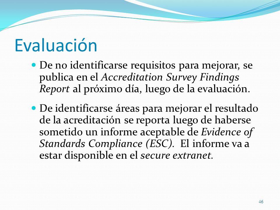 EvaluaciónDe no identificarse requisitos para mejorar, se publica en el Accreditation Survey Findings Report al próximo día, luego de la evaluación.