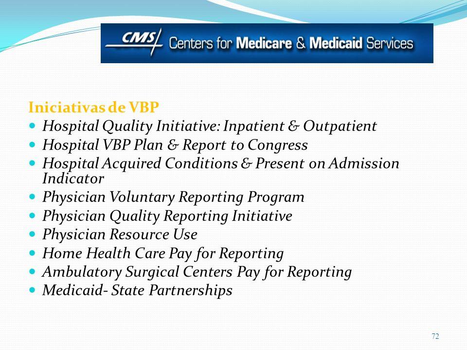 Iniciativas de VBPHospital Quality Initiative: Inpatient & Outpatient. Hospital VBP Plan & Report to Congress.