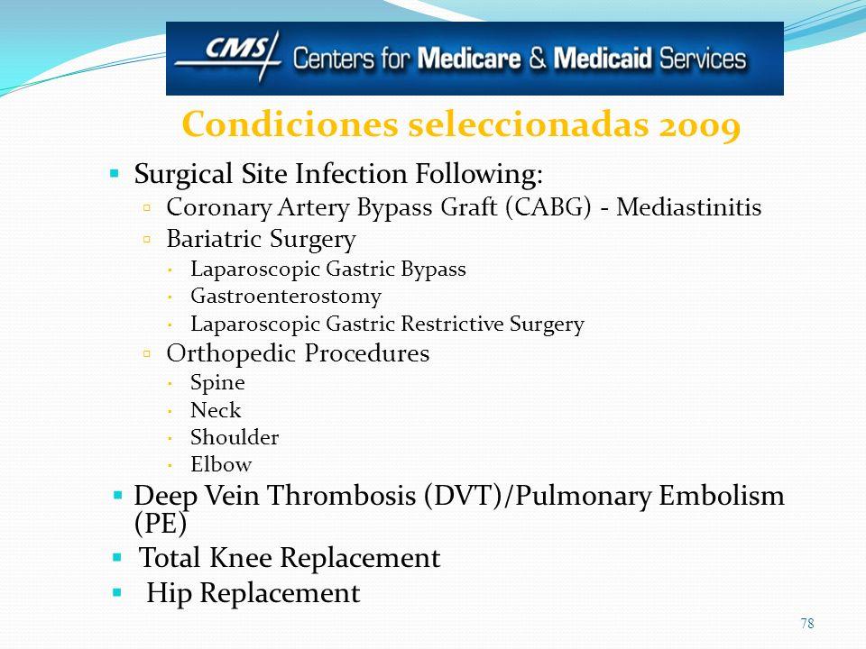 Condiciones seleccionadas 2009