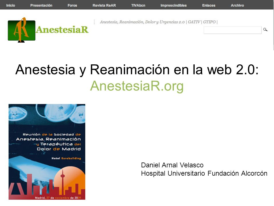 Anestesia y Reanimación en la web 2.0: AnestesiaR.org