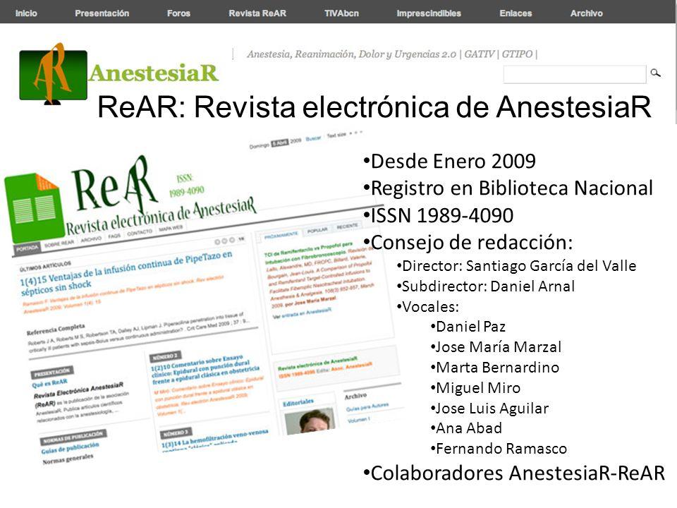 ReAR: Revista electrónica de AnestesiaR