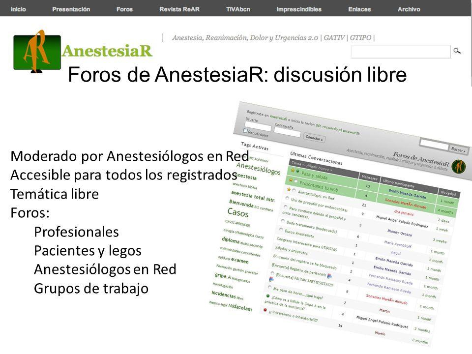 Foros de AnestesiaR: discusión libre