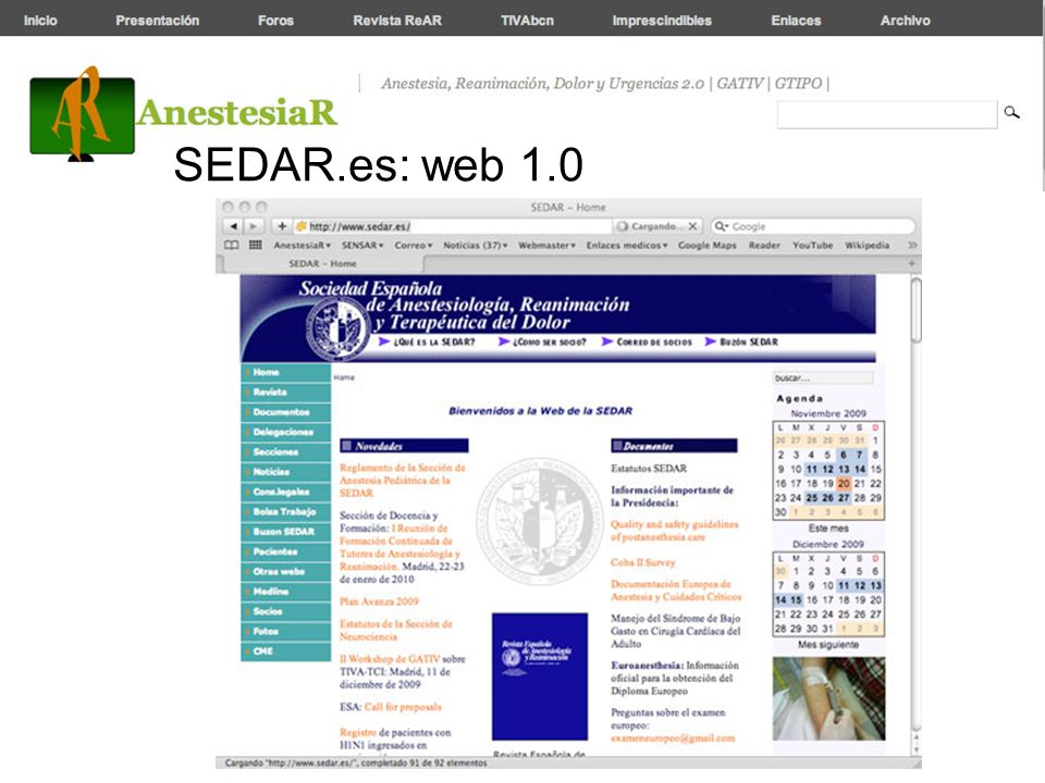 SEDAR.es: web 1.0