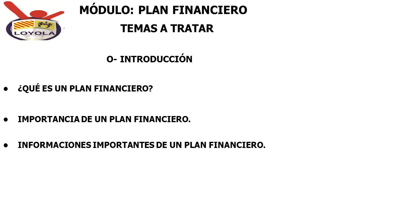 MÓDULO: PLAN FINANCIERO