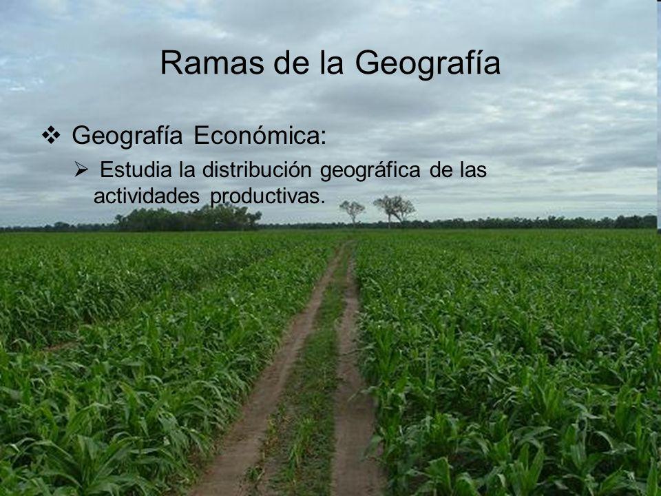 Ramas de la Geografía Geografía Económica:
