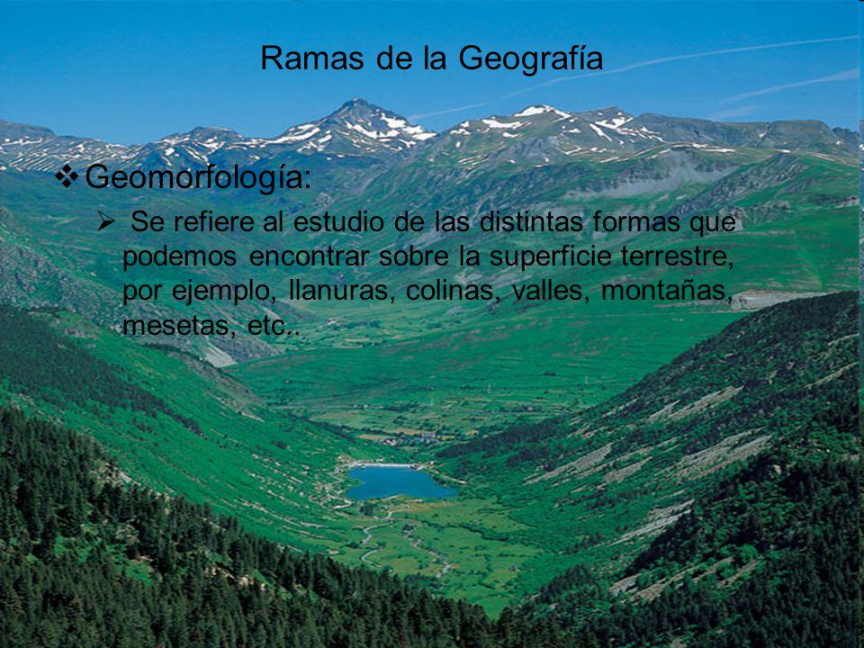 Ramas de la Geografía Geomorfología: