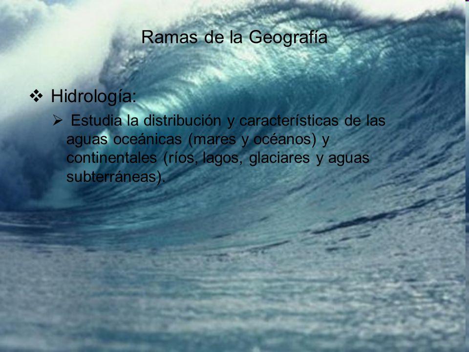 Ramas de la Geografía Hidrología:
