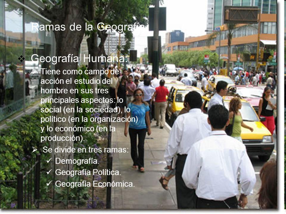 Ramas de la Geografía Geografía Humana: