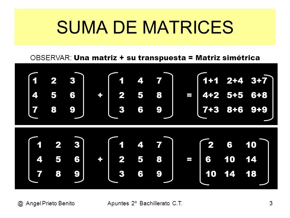 SUMA DE MATRICES OBSERVAR: Una matriz + su transpuesta = Matriz simétrica. 1 2 3. 4 5 6.