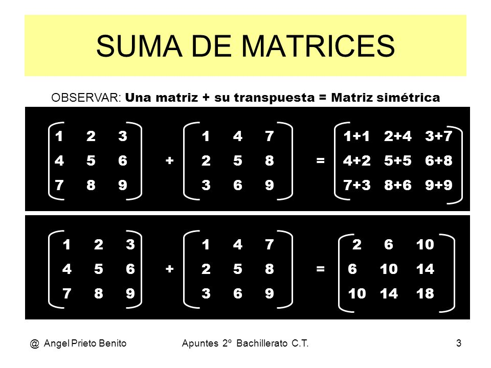 SUMA DE MATRICESOBSERVAR: Una matriz + su transpuesta = Matriz simétrica. 1 2 3. 4 5 6.