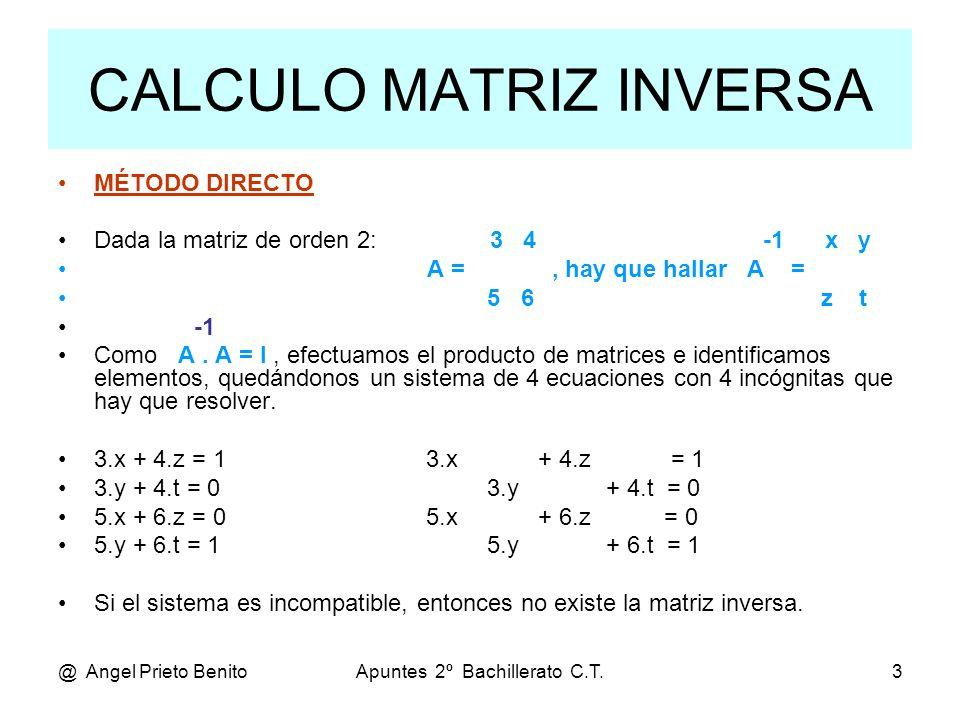 CALCULO MATRIZ INVERSA