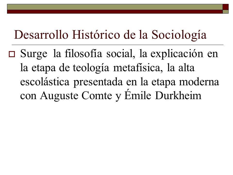 Desarrollo Histórico de la Sociología