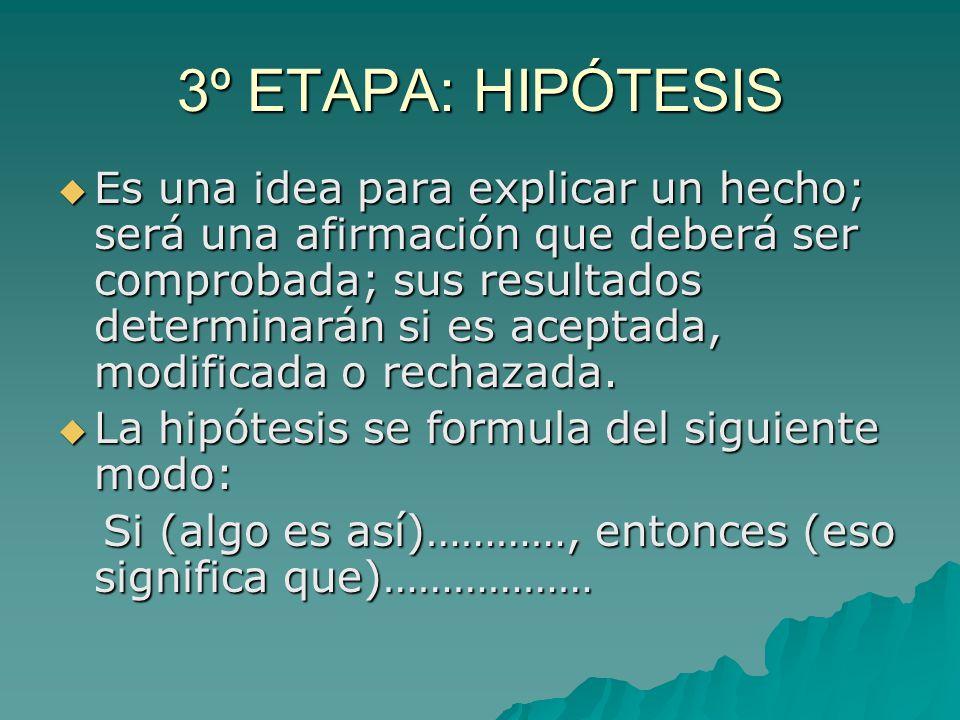 3º ETAPA: HIPÓTESIS