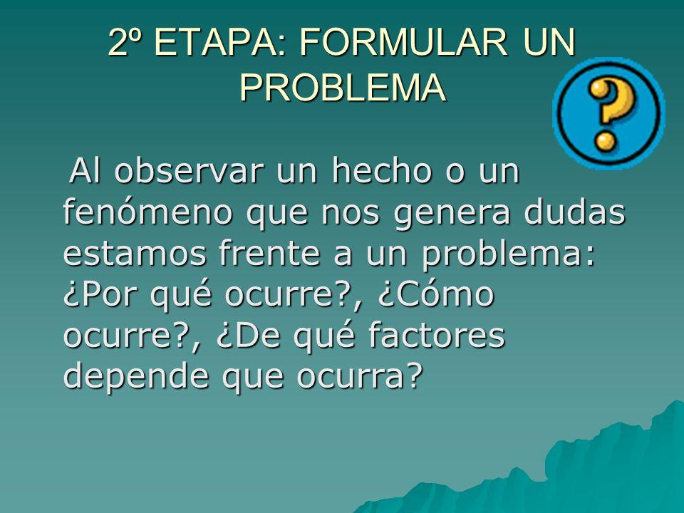 2º ETAPA: FORMULAR UN PROBLEMA