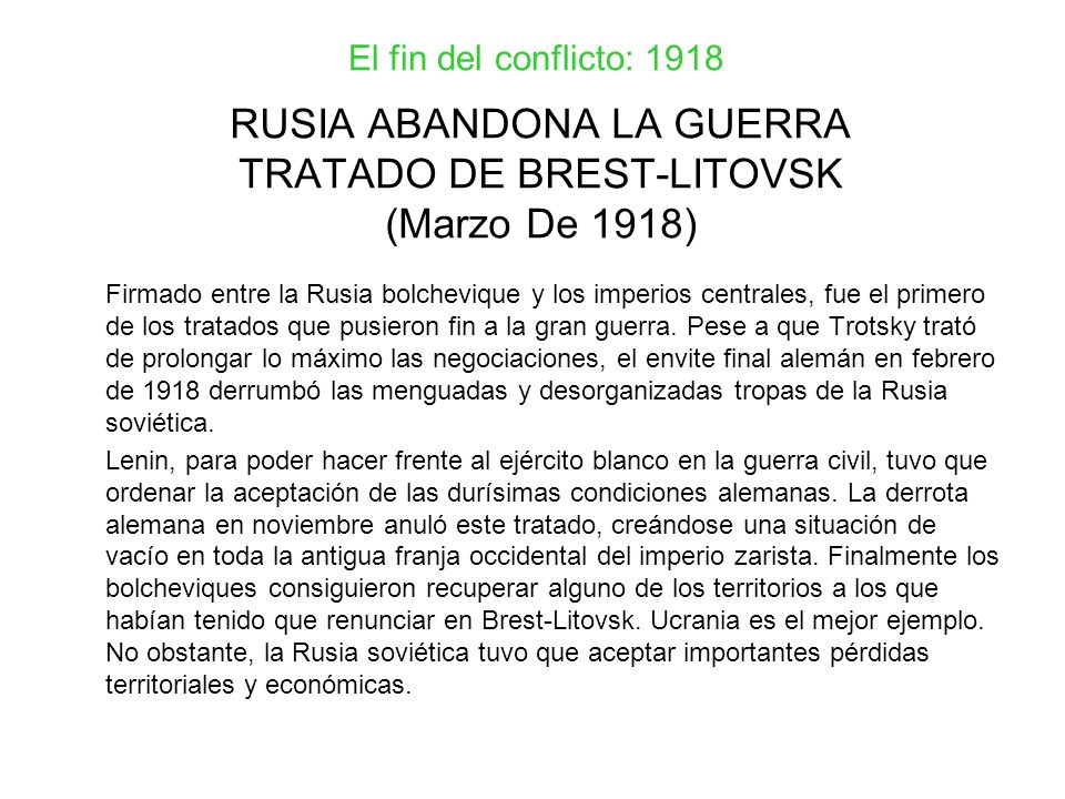 RUSIA ABANDONA LA GUERRA TRATADO DE BREST-LITOVSK (Marzo De 1918)