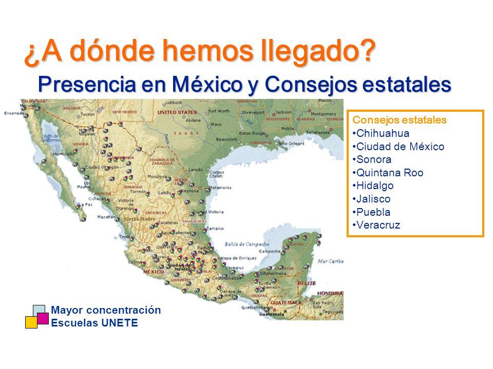 Presencia en México y Consejos estatales