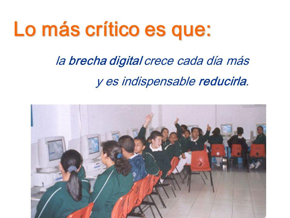 Lo más crítico es que: la brecha digital crece cada día más
